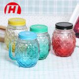 vasi di muratore di vetro multicolori 450ml con le maniglie e la bottiglia dell'ananas di vetro bevente