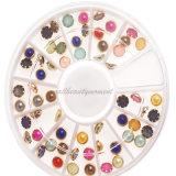 Roda dos acessórios do Manicure da decoração da beleza da pérola da arte do prego (D78)