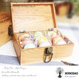 Hongdao a personnalisé la boîte-cadeau en bois de sucrerie de pin normal de couleur avec le _E de prix usine de logo