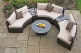 藤の柳細工の庭の屋外の家具の半月のソファーセット