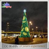 De Openlucht LEIDENE van de vakantie Reuze Groene Kunstmatige Aangestoken Kerstboom van het Metaal