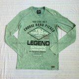 La maglietta felpata di lavaggio di Burnout Premium verde dell'uomo nel ponticello di usura del Knit di sport copre Fw-8668