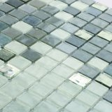 Graues und weißes Backsplash Fliese-Baumaterial-Buntglas-Mosaik