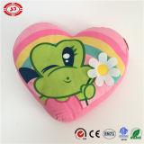 Frog Girl Catch Beautiful Flower Rainbow Heart Shape Cushion