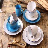 cinza contínuo do jogo de jantar 18PCS com casca do esmalte e a borda azul