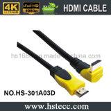 En bas 90 du câble du degré HDMI avec l'armature de tressage d'Al+ Mg+