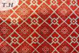Três cores do teste padrão quadrado da tela de tecelagem do jacquard do Chenille