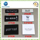 Escritura de la etiqueta tejida ropa modificada para requisitos particulares fábrica de la marca para la ropa (JP-CL147)