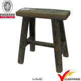 Chinês Handmade Rectangular Rustic Wooden White Stool