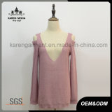 Lady Cut Off Shoulder Plunging V-Neck Neckline Sexy Tricots