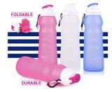 Sport che piega la bottiglia di acqua pieghevole di piegatura di corsa 550ml della perdita della prova del silicone della bottiglia pieghevole approvata dalla FDA esterna portatile di sport