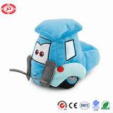 La broderie molle bourrée par chariot élévateur bleu de véhicule de peluche de remorque badine le jouet