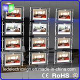 Коробка ландшафта кристаллический акриловая вися СИД светлая для индикации окна агенства недвижимости