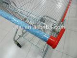 Carrello americano rivestito nero di acquisto del supermercato