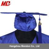 Bleu royal brillant en gros de chapeau et de robe de graduation de lycée