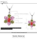 Monili del diamante della CZ placcati platino Pendant della collana del fiore (CNL0217-B)
