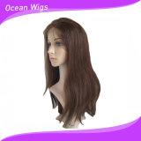 Hairline natural Virgin Glueless brasileño Full Lace Wigs Human Hair Front Lace Straight Natural Color con Baby Hair (HW-044)