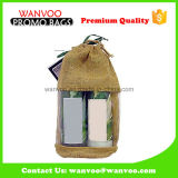 ワインのためのPVC Windowsが付いているカスタマイズされたジュート袋の卸売のFoldableジュートの戦闘状況表示板のショッピング・バッグ