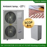 Amb。 -25cの冬の床暖房100~350sqのメートルRoom+Dhw 12kw/19kw/35kwはEviの空気ソースヒートポンプの価格の自動霜を取り除く