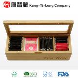 Compartiments en bambou du récipient 4 d'organisateur de stockage de chariot de boîte à thé