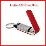 금속 USB Pendrive Keychain를 가진 가죽 USB 섬광 드라이브