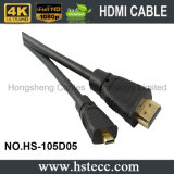 Cable de alta velocidad de HDMI con Ethernet y el conector micro de HDMI, los 33FT