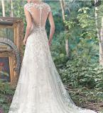 レースのテュルの花嫁の形式的なガウンのAラインのセクシーなビードのウェディングドレスS201763