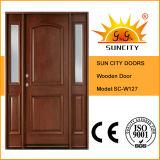 Portello interno di legno solido di disegno classico con la finestra (SC-W127)