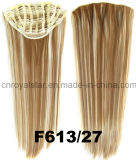 毛の拡張7 PCSの総合的でまっすぐな二重カラー1/2かつらクリップ