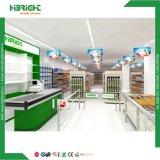 Hölzernes Oberflächenbehandlung-Supermarkt-Doppeltes versah Gondel-Fach mit Seiten