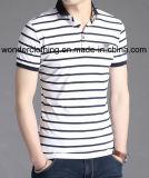 T-shirt du polo de qualité supérieure de raie adaptés par vente en gros de mode des hommes de coton