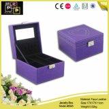 Boîte de empaquetage reflétée populaire blanche exquise de bijoux en cuir faits sur commande carrés