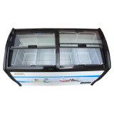 Um congelador de vidro de revestimento endurecido compressor do gelado das portas