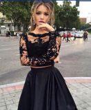 Черный выпускной вечер партии шнурка одевает втулки мантий длинние 2 сатинировки части платья вечера E2017
