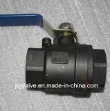 Robinet à tournant sphérique de la femelle BSPT Wcb A216 3PC DIN 1000wog avec la qualité