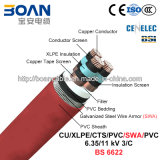 Cu/XLPE/Cts/PVC/Swa/PVC, Power Cable, 6.35/11 quilovolts, 3/C (BS 6622)