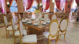 Chaise empilable de salle à manger d'acier inoxydable d'or d'élégance