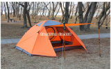 Barraca de alumínio de Pólo da camada dobro, barraca de acampamento verde impermeável