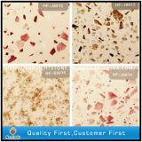 Tuiles artificielles de pierre de quartz de couleur mélangée avec le diamant rouge pour le plancher