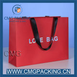 Cor Red Paper Bag com Printing/Foil/Gold Hot Stamping Logo