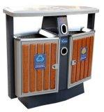 Venta caliente cubo de basura al aire libre con el plástico de madera (HW-D02A)