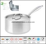 Casseroles profondes Tout-Plaquées de casserole de sauce à acier inoxydable