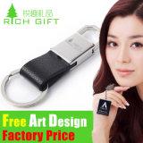 Anillo suave al por mayor del metal LED PVC/Key/Keychains de cuero con la insignia de encargo para los regalos de la promoción