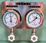 Calibre de pressão antivibração do aço inoxidável que enche-se com o petróleo de silicone