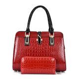 Bolsa de couro da mulher do plutônio da patente do crocodilo do desenhador ajustado da bolsa da bolsa do PCS da forma 2