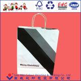 Bolsa de papel impresa la Navidad de encargo reciclable de Kraft de la alta calidad 2016