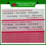 Etiqueta engomada de encargo evidente de la seguridad de la falsificación de la impresión del pisón