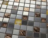 Color mezclado inoxidable Stee metálicos mixtos azulejo cristal de mosaico de la baldosa del (FYMF3014)