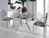 Tabela de cozinha da sala de jantar do projeto simples e cadeiras de vidro (NK-DTB025)