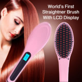 Straightener elétrico do aquecimento da escova de cabelo da PRO exposição do LCD da escova do Straightener do cabelo